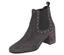 Chelsea Boots, Velours-Leder, Nieten, Blockabsatz, Grau