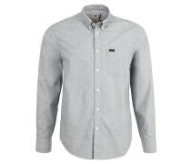 Freizeithemd, Button-Down-Kragen, Oxford-Stoff, Grau