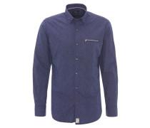 Freizeithemd, Modern Fit, Rauten-Muster, Blau