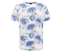 T-Shirt, Blumenmuster, Rundhals, Baumwolle