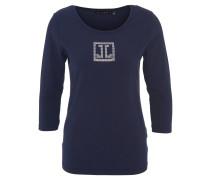 Shirt, 3/4-Ärmel, Baumwoll-Mix, Strass, Blau