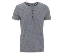 T-Shirt, Baumwolle, Henley-Ausschnitt, meliert