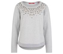 Sweatshirt, Perlen-Besatz, Metallic-Effekt, Grau
