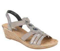 Sandalette, Glitzersteine, Flecht-Optik, elastisch