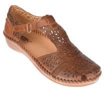 Sandalen, Leder, Klettverschluss, Braun