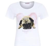 T-Shirt, Print, Strass, tailliert, Weiß