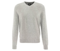 Pullover, Baumwolle, V-Ausschnitt, Langarm, Grau
