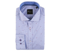 Business-Hemd, Slim Fit, grafisches Muster, Blau