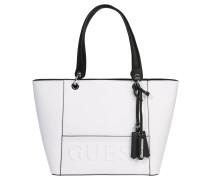 Shopper, zweifarbig, Logo-Prägung, Weiß