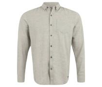 Freizeithemd, reine Baumwolle, meliert, weicher Griff, Grau
