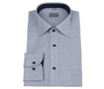 Businesshemd, geometrisches Muster, Brusttasche, Weiß