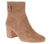 Ankle Boots, Veloursleder, Riemen, Knopfverschluss, Braun