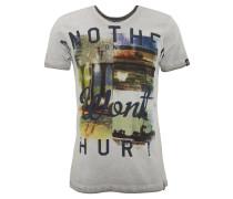 T-Shirt, Front-Print, gerollte Säume, Baumwolle, Grau