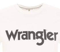 T-Shirt, Marken-Aufdruck, Rundhals, Baumwolle, Weiß