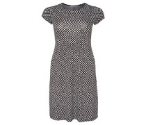 Kleid, Allover-Print, Raff-Details