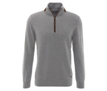 Pullover, Reißverschluss, Baumwolle, strukturiert, Grau