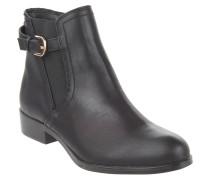Ankle Boots, Leder-Optik, Elastik-Einsatz, Riemen, Schwarz