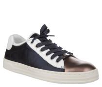 Sneaker, Punkte-Muster, Veloursleder, Emblem, Mehrfarbig