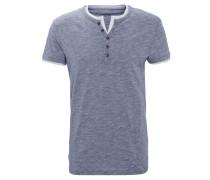 T-Shirt, meliert, Knopfleiste, Baumwolle, Blau