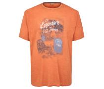 T-Shirt, Print, Melange, Große Größen, Braun