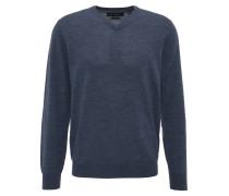 Pullover, V-Ausschnitt, Wolle, Blau