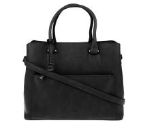 Handtasche, Innentasche, Griffe, abnehmbarer Schultergurt, uni, Schwarz