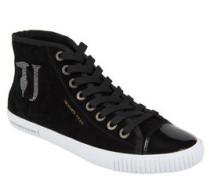 Sneaker, Veloursleder, Strass-Logo, Lack-Optik
