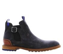 Chelsea Boots, Schnalle, Leder, Schlangen-Muster, Profilsohle, Schwarz