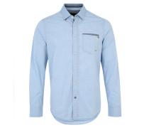 Freizeithemd, Wasch-Optik, Stickmuster, Button-Down, Blau