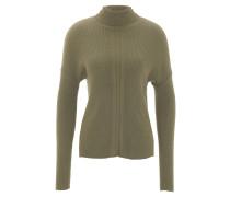 Pullover, Rollkragen, gerippt, Rücken verlängert, Oliv
