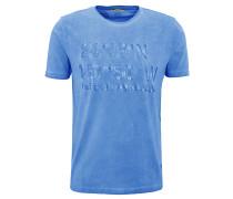 T-Shirt, Print, verwaschene Optik, Blau