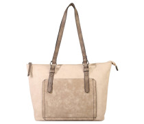 "Shopper ""Summer"", Saffiano-Optik, Lederimitat, Beige"