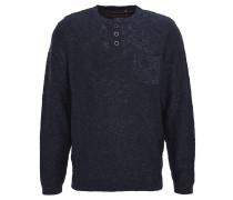 Pullover, meliert, Knopfleiste, Brusttasche, Blau