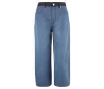 Culotte-Hose, Baumwoll-Mix, weites Bein, Blau