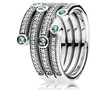 "Ring, ""Ozean, schimmernd"", Silber, mit Zirkonia, 191002CZF"