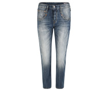 Jeanshose, Used-Look, Waschung, Straight Fit, Blau