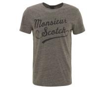 T-Shirt, Front-Print, meliert, Grau