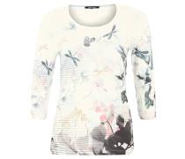 Shirt, 3/4-Arm, floraler Print, Nietendekor, Blau
