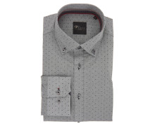 Businesshemd, Slim Fit, gemustert, Button-Down-Kragen, Grau