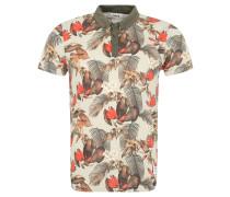 T-Shirt, Hawaii-Print, Button-Down-Kragen, Oliv
