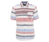 Freizeithemd, Kurzarm, Streifen, Brusttasche, Rot