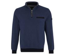Sweatshirt, Troyerkragen, Rippbündchen, Blau