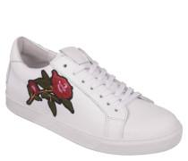 Sneaker, floraler Aufdruck, Schnürung, Weiß