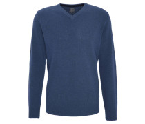 Pullover, V-Ausschnitt, Wollanteil, Blau