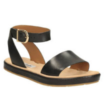 Sandale, Dornschließe, uni, Leder