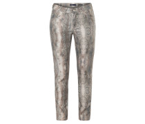 Damenjeans, Animalprint, Slim-fit, Beige