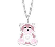 Halskette Kinder Teddybär Herz Emaille 925 Silber Emilie