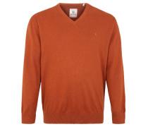 Pullover, reine Baumwolle, V-Ausschnitt, Große Größen, Braun