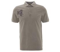 Poloshirt, Print, Aufnäher, Logo-Stickerei, Grau