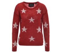 Pullover, Sterne, grober Strick, leichte Transparenz, Rot